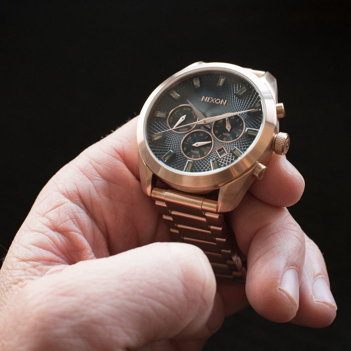 Nixon Bullet Chrono Crystal All Rose Gold Gunmetal angled shot picture