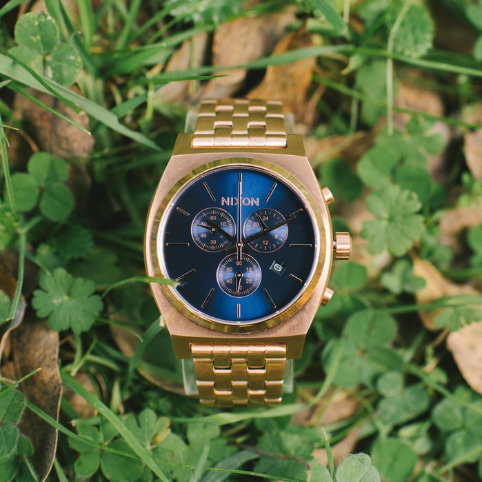 Nixon Time Teller Chrono All Rose Gold Navy Sunray angled shot picture