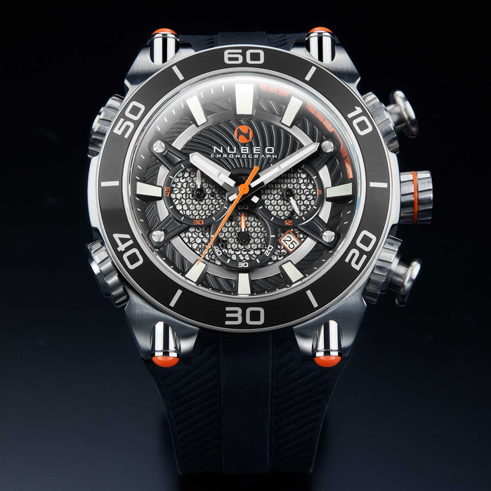 Nubeo Deimos Viking Chronograph Black Orange angled shot picture