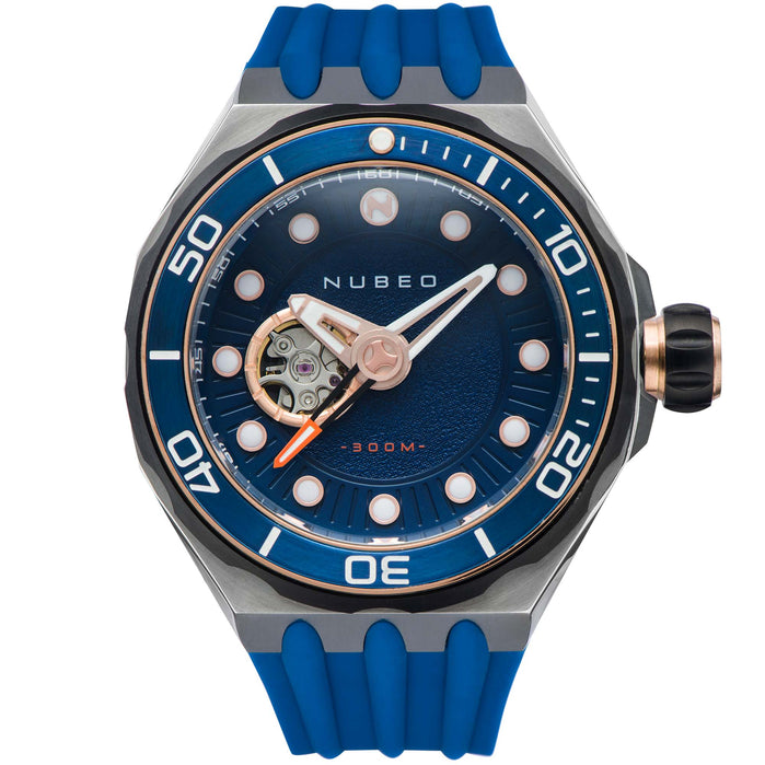 Nubeo Mariana Automatic Mesopic Blue Rose Gold angled shot picture