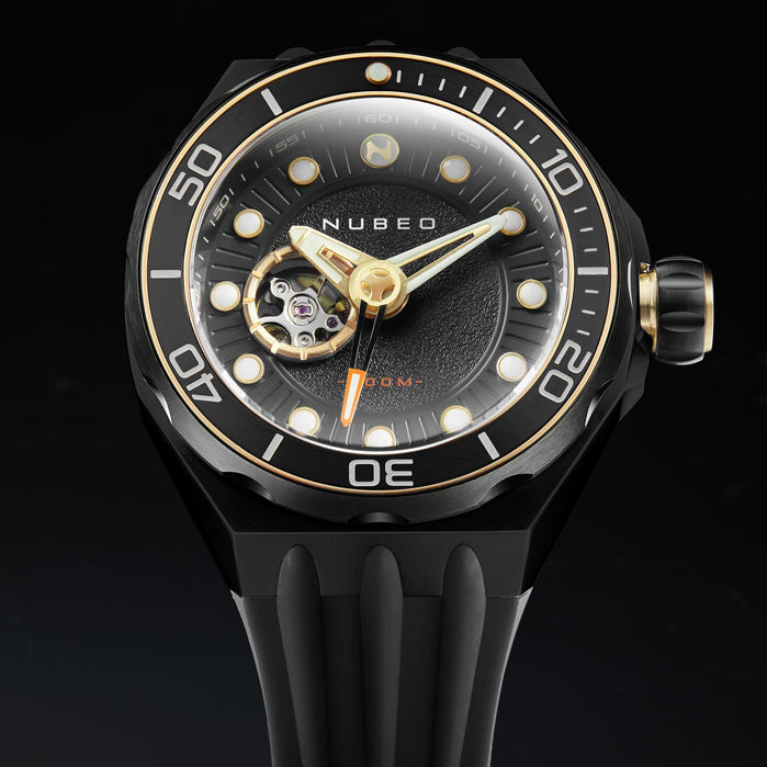 Nubeo Mariana Automatic Dragon Fish Black Gold angled shot picture