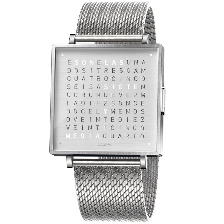Qlocktwo W 39mm Fine Steel Mesh in Spanish (Español)