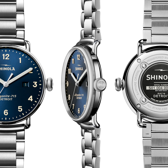 Shinola Canfield 43mm Stainless Steel Midnight Blue angled shot picture