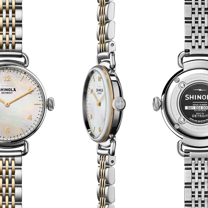 Shinola Canfield 32mm Silver Gold Mother of Pearl angled shot picture