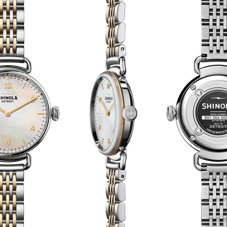 Shinola Canfield 32mm Silver Gold Mother of Pearl