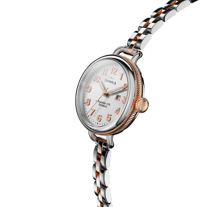 Shinola Birdy 34mm Silver Rose Gold angled shot picture