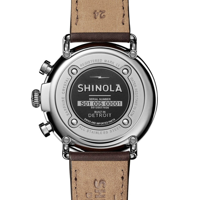 Shinola Runwell Chrono 47mm Silver Brown angled shot picture