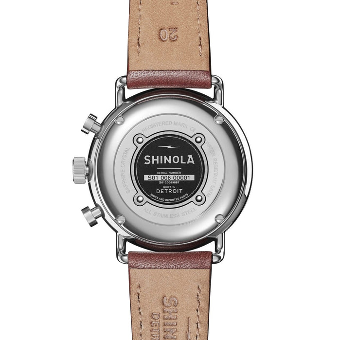 Shinola Canfield Sport Chrono 40mm Midnight Blue Brown angled shot picture