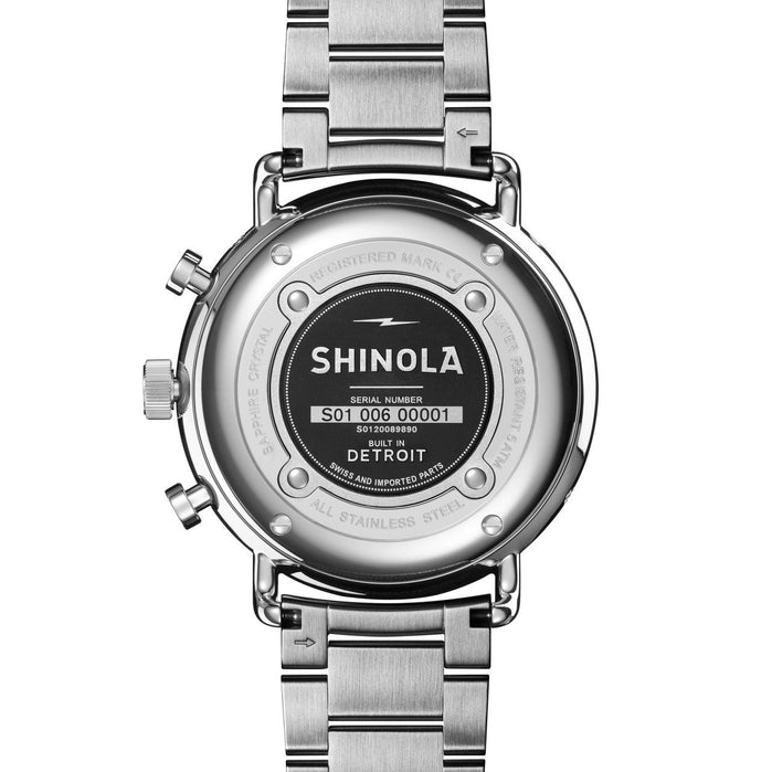 Shinola Canfield Sport Chrono Calendar 45mm Midnight Blue Steel angled shot picture