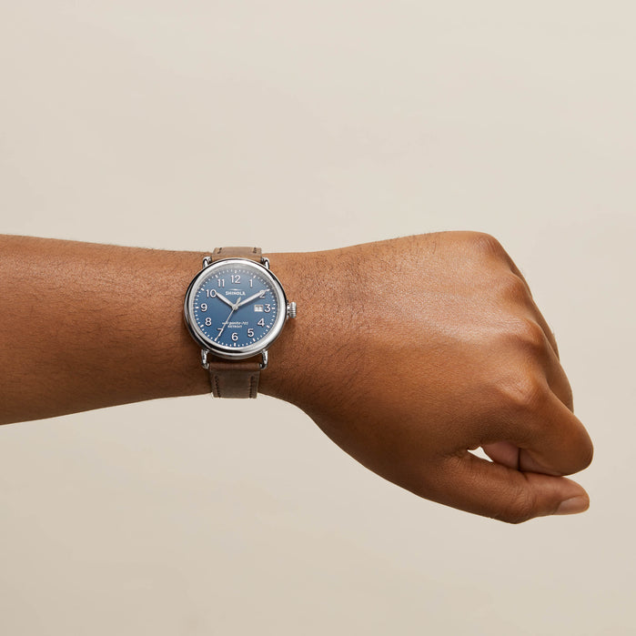 Shinola Runwell 41mm Blue Brown angled shot picture