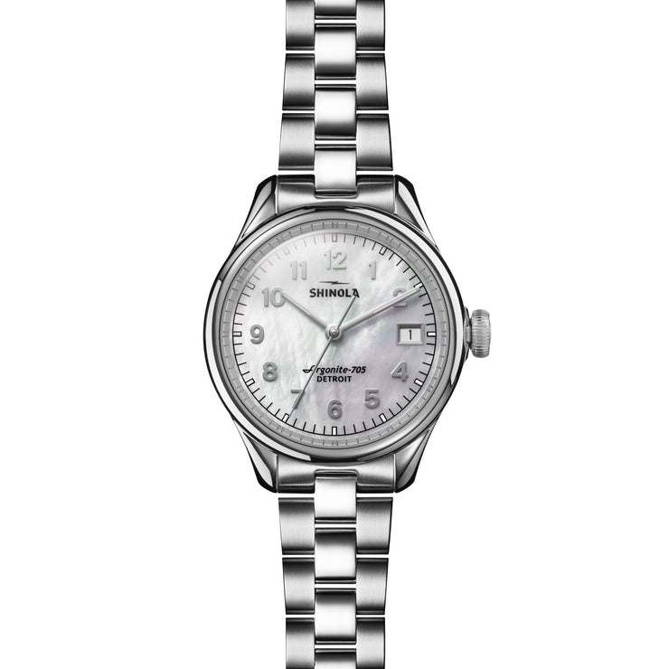 Shinola Vinton 32mm Silver Mother of Pearl