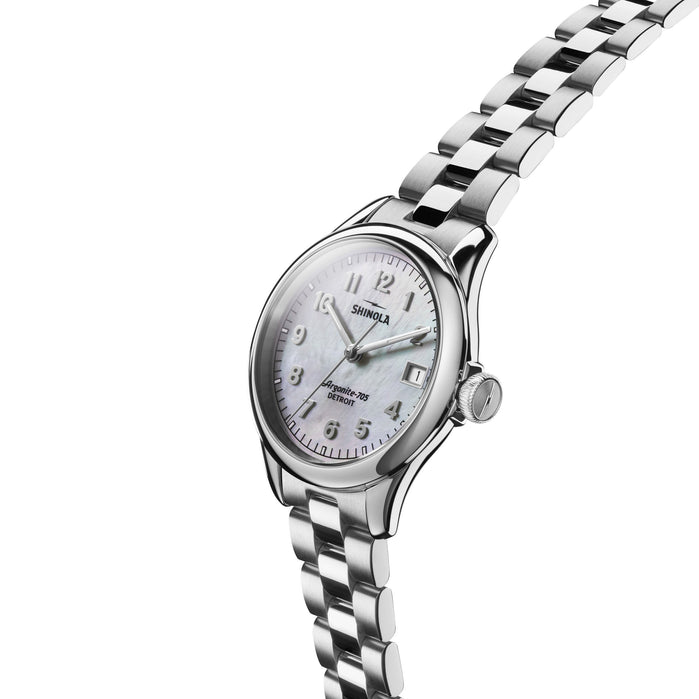 Shinola Vinton 32mm Silver Mother of Pearl angled shot picture