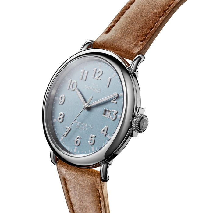 Shinola The Runwell 47mm Light Blue Brown angled shot picture