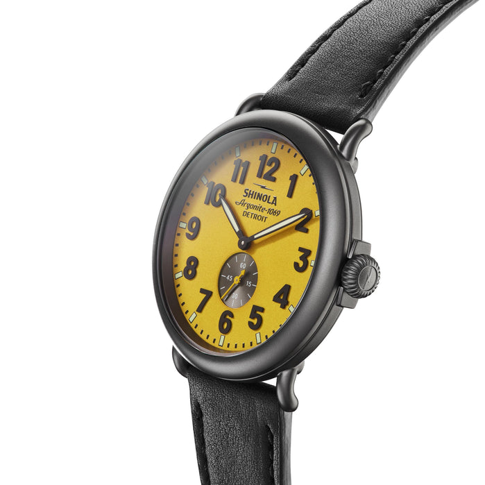 Shinola The Runwell 47mm Yellow Black angled shot picture