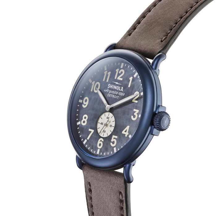 Shinola The Runwell 47mm Blue Grey angled shot picture