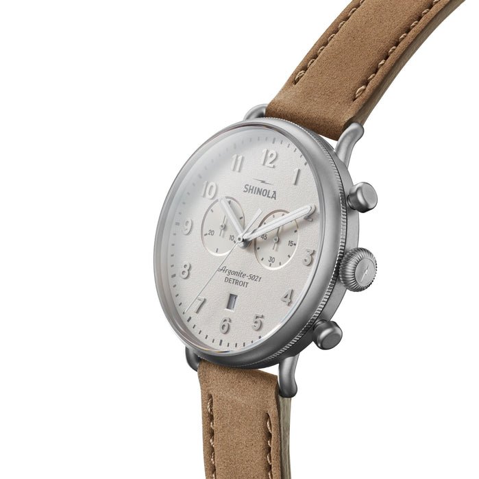 Shinola The Canfield 43mm Chronograph White Beige angled shot picture