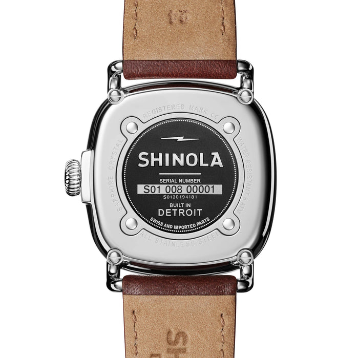 Shinola Guardian 41mm Midnight Blue Brown angled shot picture
