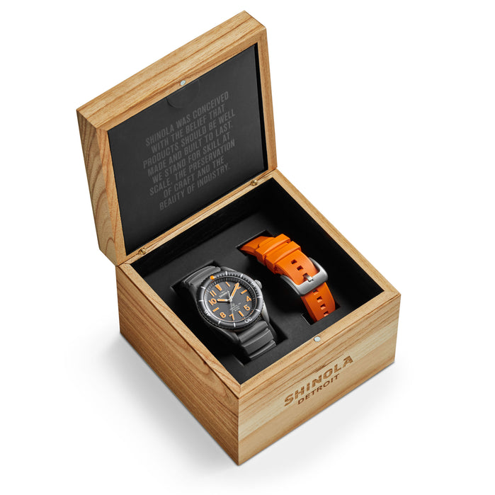 Shinola The Duck 42mm Gray Orange angled shot picture