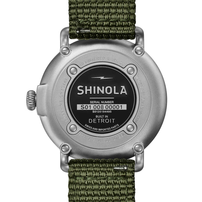 Shinola Runwell Field 41mm Silver Green angled shot picture