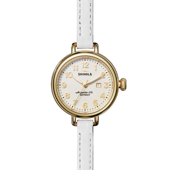Shinola Birdy 34mm Double Wrap Gold White angled shot picture
