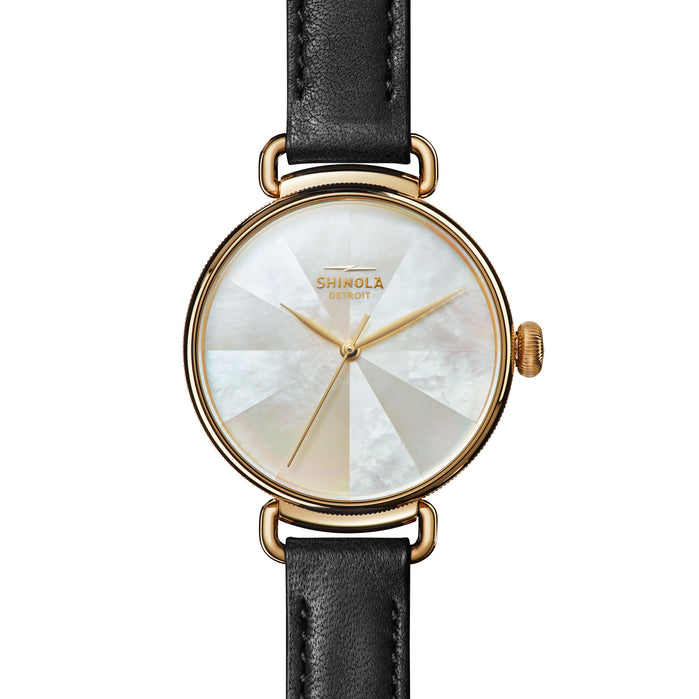 Shinola Canfield 38mm Kaliediscope Mother of Pearl Gold angled shot picture