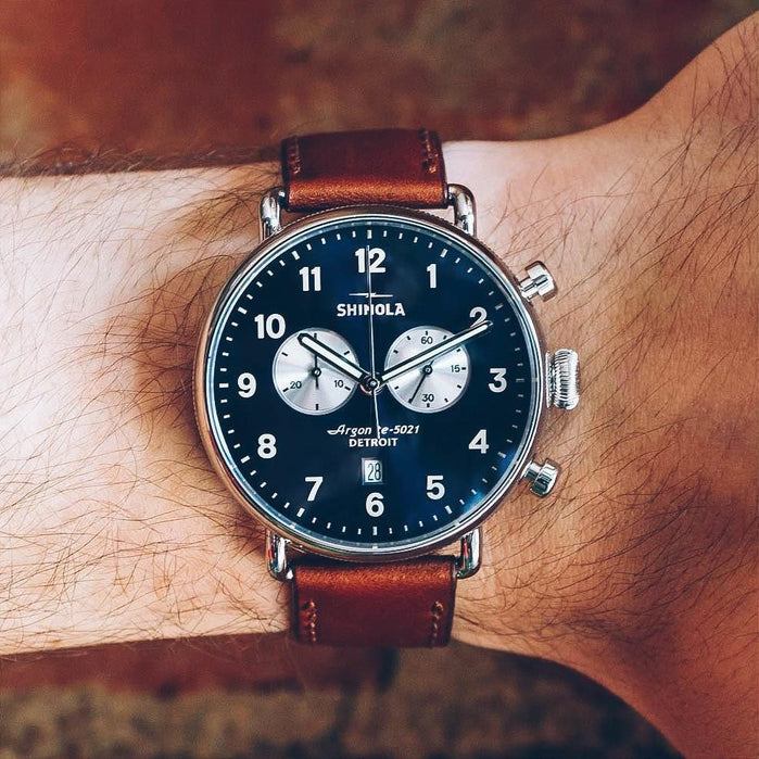 Shinola Canfield 43mm Chronograph Brown Navy angled shot picture
