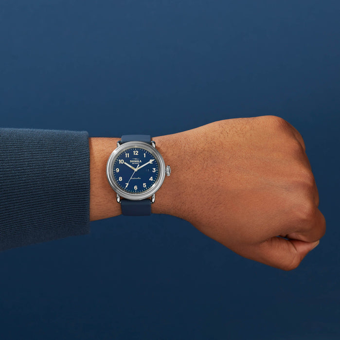 Shinola Detrola 43mm The Daily Wear Silver Blue angled shot picture