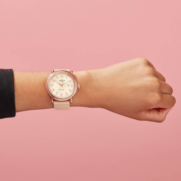 Shinola Detrola 43mm The Pinky Rose Gold Pink angled shot picture