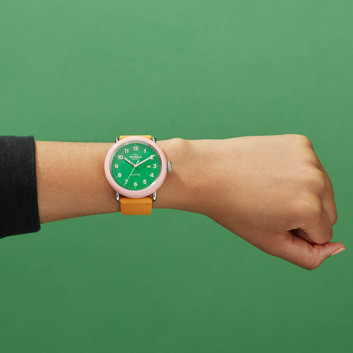 Shinola Detrola 43mm The Islander Pink Green angled shot picture