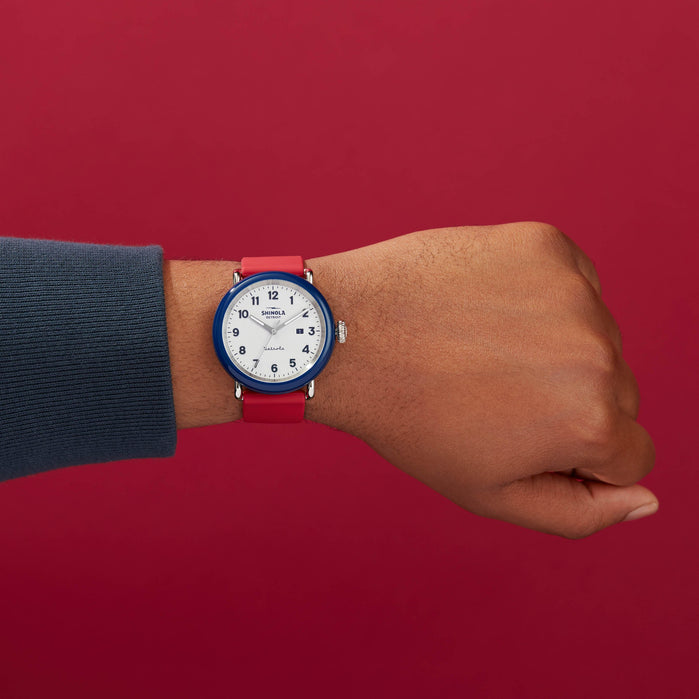 Shinola Detrola 43mm The Ace Red White Blue angled shot picture