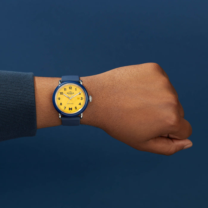 Shinola Detrola 43mm The Wolverine Blue Yellow angled shot picture