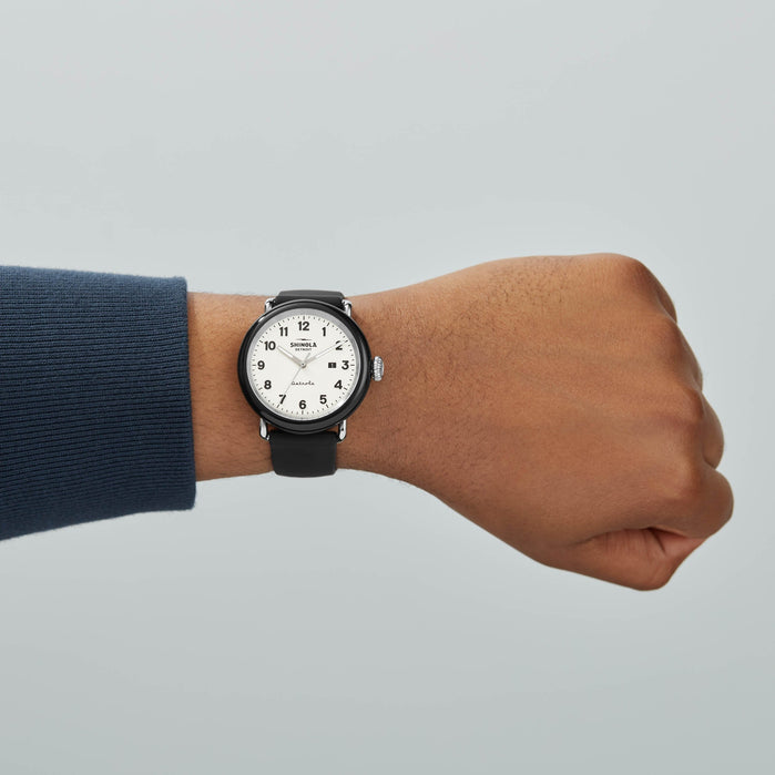Shinola Detrola 43mm The Penguin Black White angled shot picture