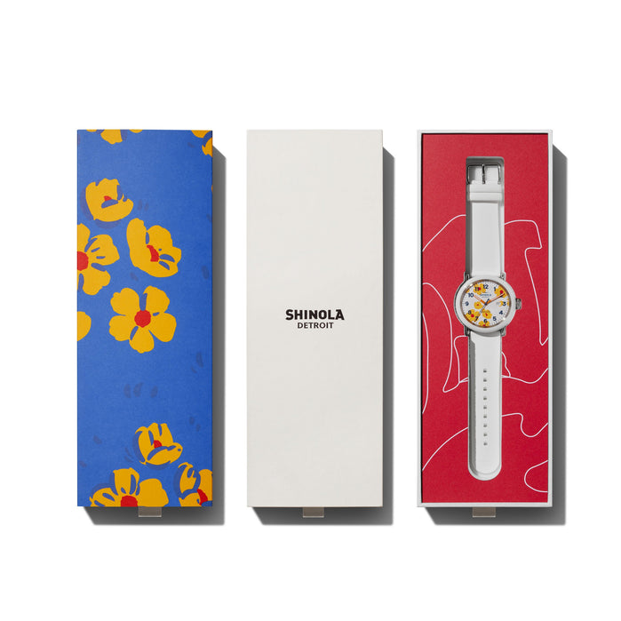 Shinola Detrola 43mm Poppy White Yellow angled shot picture