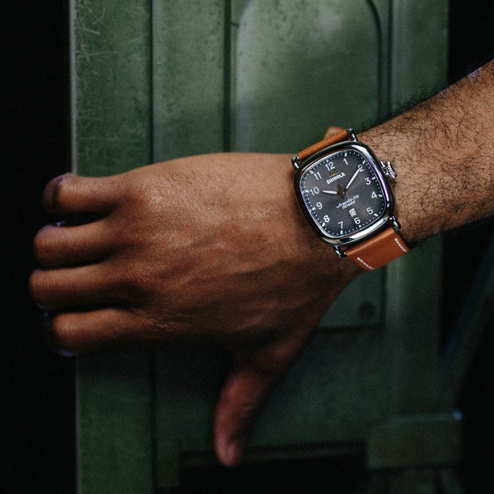 Shinola Guardian 41mm Cool Gray Brown angled shot picture