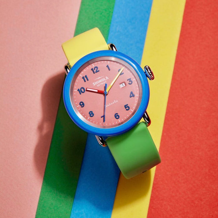 Shinola Detrola 43mm The Gumball Pink Multi angled shot picture