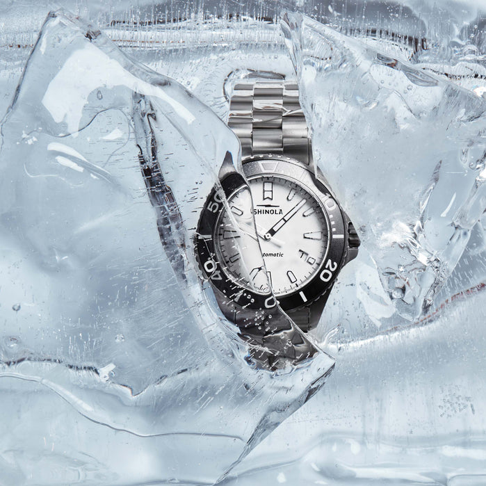 Shinola Ice Monster Titanium 43mm Automatic Gunmetal White angled shot picture