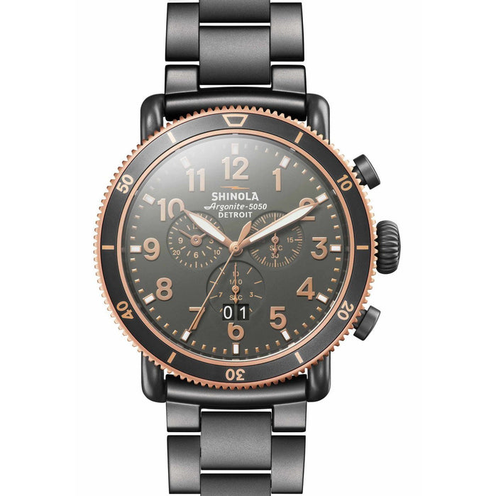Shinola Runwell Sport Chrono 48mm Gunmetal angled shot picture