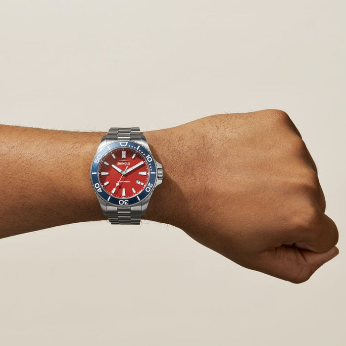 Shinola The Harbor Monster 43mm Automatic Red Blue angled shot picture