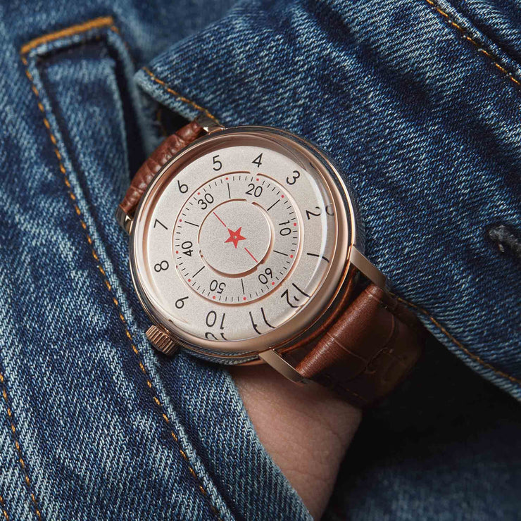CCCP Aleksandrov Automatic Rose Gold Brown wrist