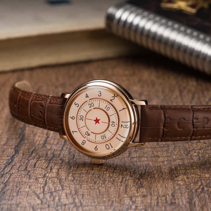 CCCP Aleksandrov Automatic Rose Gold Brown angled shot picture