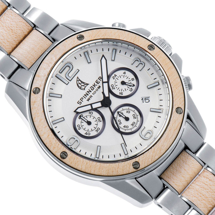Spinnaker Vessel Chrono Silver Maplewood