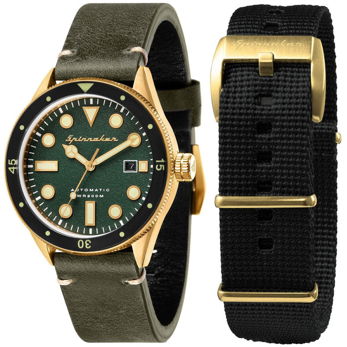 Spinnaker Cahill Automatic Gold Green angled shot picture