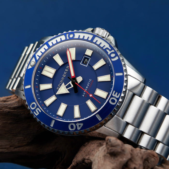 Spinnaker Amalfi Automatic Silver Blue angled shot picture