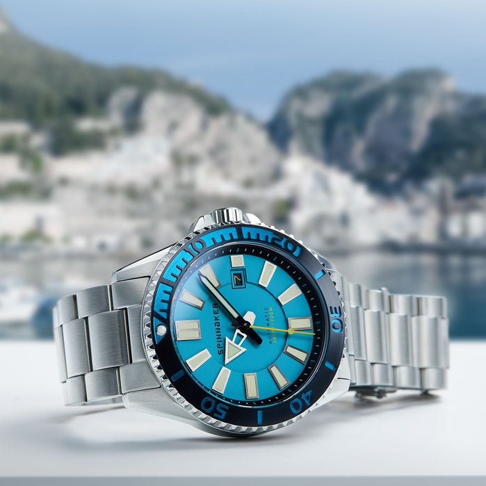 Spinnaker Amalfi Automatic Silver Light Blue angled shot picture