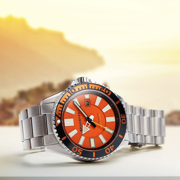 Spinnaker Amalfi Automatic Silver Orange angled shot picture