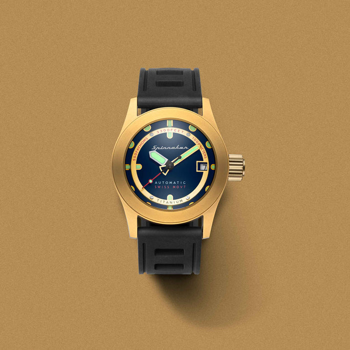 Spinnaker Piccard Automatic 1000 Meter Gold Blue angled shot picture