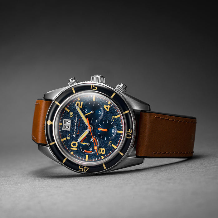 Spinnaker Fleuss Chronograph Blue Tan angled shot picture