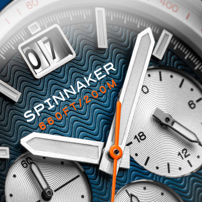 Spinnaker Hydrofoil Chronograph Silver Blue angled shot picture