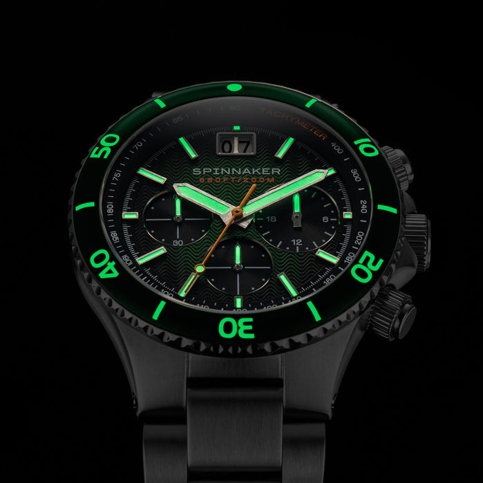 Spinnaker Hydrofoil Chronograph Silver Green angled shot picture