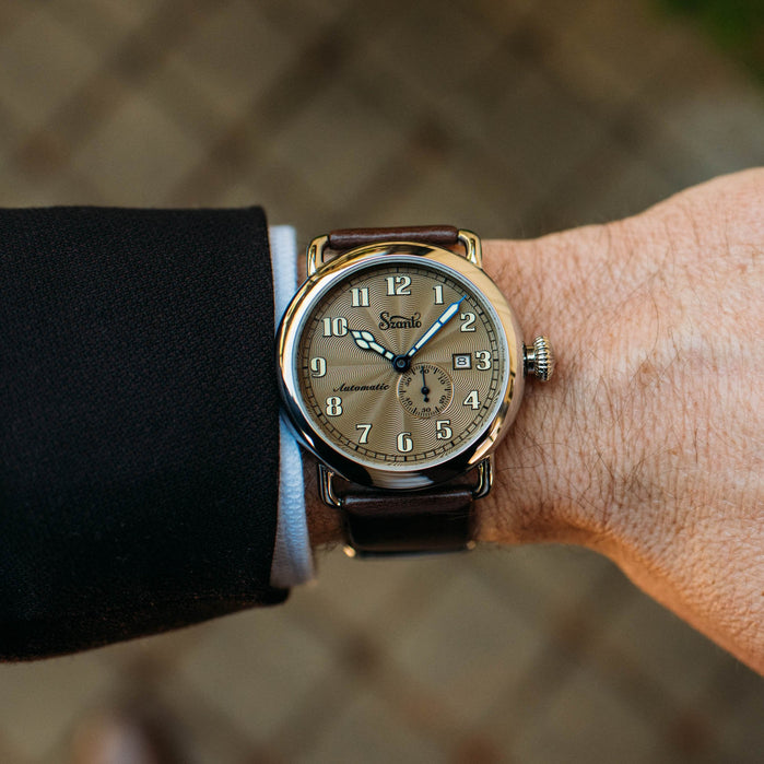 Szanto Officer's Classic Automatic Silver Brown angled shot picture